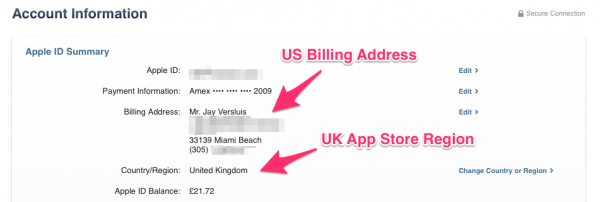 how to change region on apple store